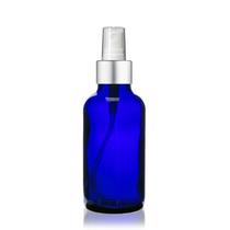 1 oz Cobalt Blue Bottle w/ White - Silver Fine Mist Sprayer