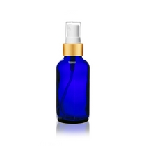 1 oz Cobalt Blue Bottle w/ White - Gold Fine Mist Sprayer