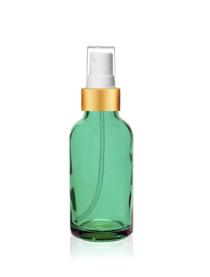1 oz Caribbean Green Glass Bottle w/ White-Matte Gold Fine Mist Sprayer