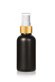 2 Oz Matt Black Glass Bottle w/ Matte Gold and White Fine Mist Sprayer