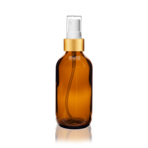 2 Oz Amber Glass Bottle w/ Matte Gold and White Fine Mist Sprayer