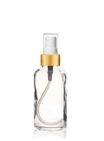 2 Oz Clear Glass Bottle w/ Matte Gold and White Fine Mist Sprayer