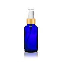 2 Oz Blue Glass Bottle w/ Matte Gold and White Gold Fine Mist Sprayer