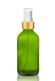 2 Oz Green Glass Bottle w/ Matte Gold and White Fine Mist Sprayer