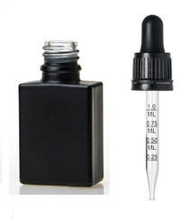 1oz Black SQUARE Glass Bottle w/ 18-415 Black Tamper Evident Calibrated Dropper- Case of 110