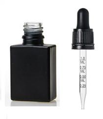 1oz Black SQUARE Glass Bottle w/ 18-415 Black Tamper Evident Calibrated Dropper- Case of 110