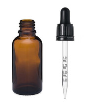 1 oz Amber Euro Glass Bottle w/ 18-415 Black Tamper Evident Calibrated Dropper- Case of 110