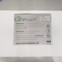 "Care Touch Insulin Syringes | 31g 5/16"" - 8 mm .3 cc (Pack of 100)"