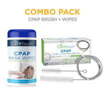 Care Touch CPAP Mask Wipes, Unscented - 70 Wipes Plus CPAP Tube Cleaning Brush (7 feet) and Handy CPAP Mask Brush (7 inches) to Fit Standard 22mm Diameter Tube