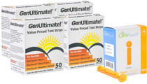 GenUltimate Blood Glucose Test Strips 200 Count for Use with One Touch Ultra, Ultra 2 and Ultra Mini Meter, (4x50) Strips with 100 Lancets by Care Touch