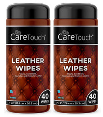 Care Touch Leather Cleaner Wipes for One-Step Cleaning, Conditioning, and Protecting - Pack of 2, 40 Wipes Each for Cars, Shoes and Other Leather Surfaces