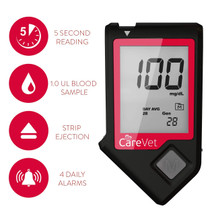 Care Vet Blood Glucose Monitoring Kit, Diabetes Testing for Dogs and Cats - Glucose Meter with Hygeinic Strip Ejection Plus 10 Bonus Glucose Test Strips, Complete Starter Kit Included