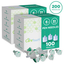 Care Touch Insulin Pen Needles 31 Gauge, 1/4 Inches, 6mm - 2 Packs (2x100) Pen Needles
