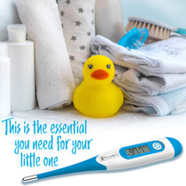 Baby Rectal Thermometer - Rectal Digital Thermometer Approved for Babies - Fast Readings in 10 Seconds - with Fever Detection and Fever Indication - DTR-1221BLU by iProven
