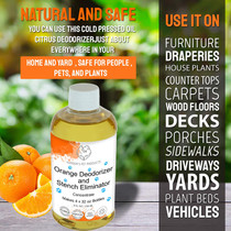 Harbor's Orange Deodorizer and Pet Stench Eliminator. Instantly Cleans Rugs, Furniture, Mattresses with Pleasant Natural Aroma. Removes Dog & Cat Urine. Bottle of Concentrate Makes 1 Gal of Spray