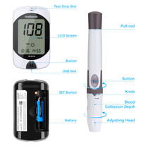 Diabetes Testing Kit, 100 Lancets, 100 Glucometer Strips, 1 Blood Glucose Meter, 1 Lancing Device, Blood Sugar Monitor Kit with Test Strips and Lancets, Sugar Machine for Diabetes, No Coding