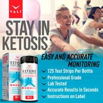 Ketone Test Strips for Ketones Testing - 125 Pack Keto Urinalysis Tester Strips Kit for Ketogenic, Paleo, Atkins & Low Carb Diets. Premium Ketosis Testing, Accurate Measurement of Ketone Urine Levels