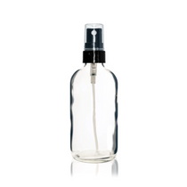 4 oz Clear Glass Bottle w/ Black Fine Mist Sprayer