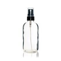 4 oz Clear Glass Bottle w/ Black Fine Mist Sprayer