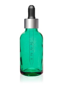 1 Oz Caribbean Green Glass Bottle w/ Black Silver Calibrated Glass Dropper
