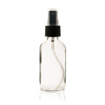 2 oz CLEAR Boston Round Bottle - w/ Black Fine Mist Sprayer