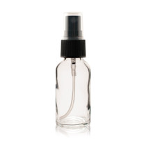 1 oz CLEAR Boston Round Glass Bottle - w/ Black Fine Mist Sprayer