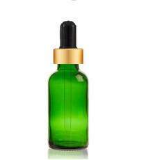 1/2 oz Green Glass Bottle w/ Black- Matt Gold Glass Dropper