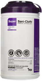 "PDI Super Sani-Cloth Germicidal Disposable Wipes, 7.5""x15"", 65 Count"