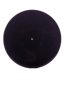 Black PP 70-400 smooth skirt lid with printed pressure sensitive (PS) liner