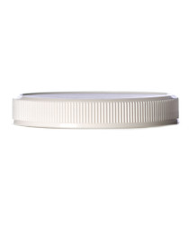 White PP 70-400 ribbed skirt lid with foam liner