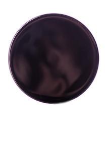 Black PP 58-400 smooth skirt lid with printed pressure sensitive (PS) liner