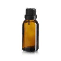 30 ml AMBER Euro Dropper Bottles with Black Cap and Inserts - Case of 330