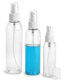 2 oz CLEAR PET Bullet Bottle w/ White Fine Mist Sprayer