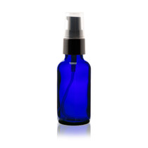 1 oz Cobalt BLUE Glass Bottle w/ Black Treatment Pump
