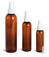 4 oz AMBER Plastic PET Cosmo Bullet Bottle w/ White Fine Mist Sprayer case of 805