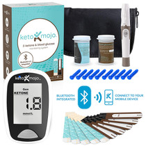 KETO-MOJO Bluetooth Blood Ketone and Glucose Testing Kit –10 Ketone & 10 Glucose Test Strips, 10 Lancets, 1 Meter, 1 Lancing Device, Monitor Your Ketogenic Diet