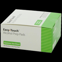 EasyTouch Alcohol Prep Pads (Gamma-Sterilized) Medium, 2-PLY Prep Pads- 200 pack
