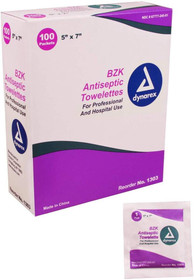 "Dynarex Antiseptic Wipe Benzalkonium BZK First Aid Wipes - 5"" x 7"""