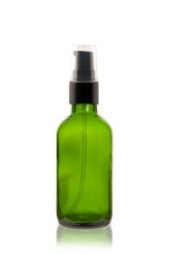 1 oz Green Glass Bottle w/ Black Treatment Pump