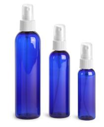 8 oz Cobalt BLUE PET Cosmo Bullet Plastic Bottle w/ Black Fine Mist Sprayer Set of 48