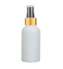 2 Oz Matt White Glass Bottle w/ Black-Gold Fine Mist Sprayer