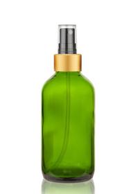 1 Oz Green Glass Bottle w/ Black-Gold Fine Mist Sprayer