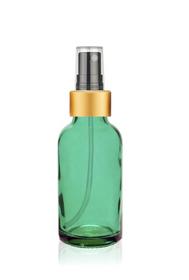 1 oz Caribbean Green Glass Bottle w/ Black-Gold Fine Mist Sprayer