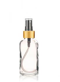 1 Oz Clear Glass Bottle w/ Black-Gold Fine Mist Sprayer