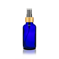 1 Oz Cobalt Blue Glass Bottle w/ Black-Gold Fine Mist Sprayer