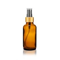 2 Oz Amber Glass Bottle w/ Black-Gold Fine Mist Sprayer