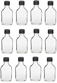 12 Pack, 100ml Glass Flask Bottles with Black Tamper Evident Caps, with a Funnel