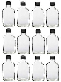 200ml Glass Flask Bottles with Black Tamper Evident Caps, with a Funnel