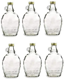 12 Ounce, 6 Pack, Empty Glass Syrup Bottles For Canning, with Metal Lids, Glass Maple Syrup Bottles