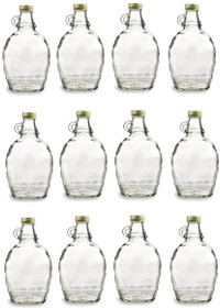 12 Ounce, 12 Pack, Empty Glass Syrup Bottles For Canning, with Metal Lids, Glass Maple Syrup Bottles